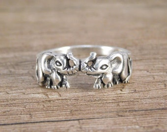 Lucky Elephants Ring Sterling Silver Elephant Ring feng shui