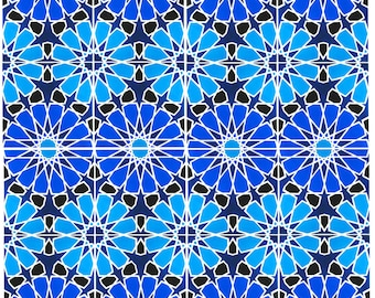 Hand Painted Moroccan Tiles - Ceramic Accent Tiles - Kitchen Backsplash Tiles - Decorative Tiles - Moroccan Coasters - Turquoise and Cobalt