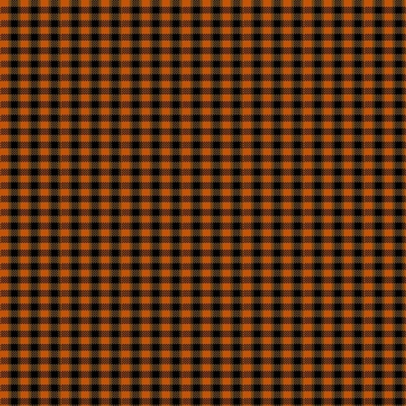 Mini Check Yarn Dye In Pumpkin Orange and Black Fall Home Decor, Pumpkin Farm Stacy West, Buttermilk Basin, Fabric by the Yard 2067Y 38