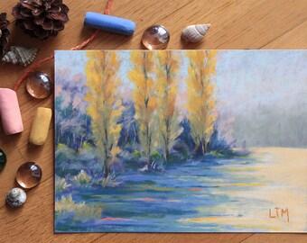 Peinture au pastel sec, Paysage forestier, Prairie, Peupliers, Tableau unique, Oeuvre d'art originale