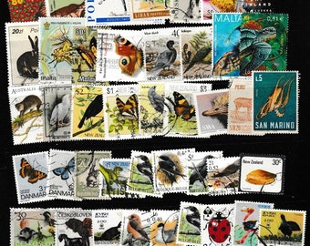 55 Worldwide Bird, Animal, Insect and Sealife Postage Stamps - Use in Decoupage, Scrapbooks, Travel Theme Collage, Magnets, Jewellery, Etc.