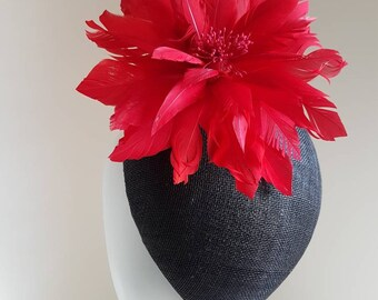 Black Fascinator With Large Red Feather Flower. Ideal for Weddings, Royal Ascot, Church, Hightea, Kentucky Derby, Millinery, Milliner