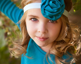 Teal & Aqua Headband -  Satin Rosette Flower Headband - Baby Girls