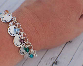 Hand Stamped Custom Name Charm Bracelet - Name and Birthstone Mother's Personalized Charm Bracelet - Hand Stamped Sterling Silver Bracelet -