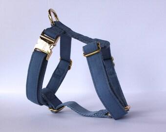 Blue Jean Denim Dog Y Harness Collar Gold Hardware Adjustable Designer Dog Accessories Pet Fashion Stylish Classic Dapper Cat Pablo & Co