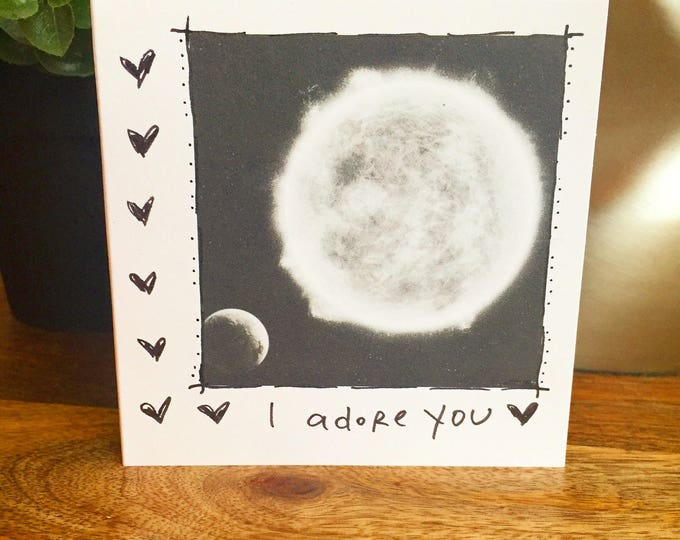 I adore you card, I love you Card, out of this world love, First anniversary card for wife, husband anniversary card, space card