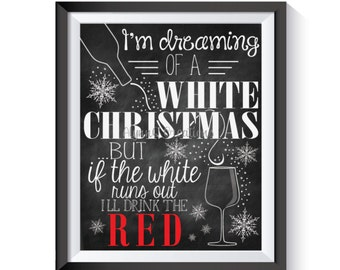 RED Dreaming of a White Christmas Printable
