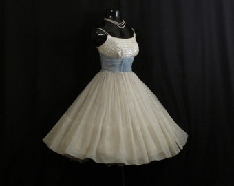 Vintage 1950's 50s Ivory Baby Blue Ruched Chiffon Beaded Sequins Circle Skirt Party Prom Wedding Dress Gown