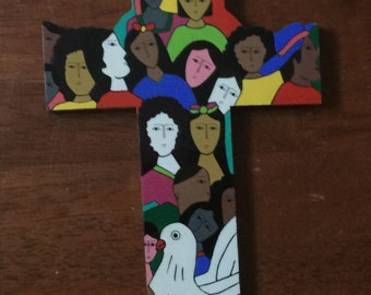 Painted Wood Folk Art Cross, 1980s Christian Crosses from La Palma, El Salvador, Religious Amulets Wall Crosses