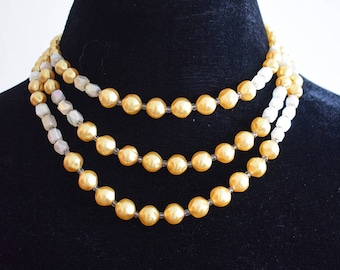 Vintage 1960s Yellow and White Three-String Necklace