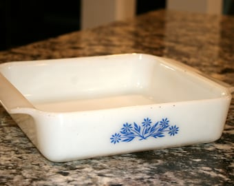 "Anchor Hocking Fire King Oven Ware//Corn Flower Blue Design//8"" Square Dish//Vintage Anchor Hocking"