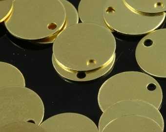 120 pcs 10 mm raw brass circle tag 1 hole raw brass charms ,raw brass findings 71R-40