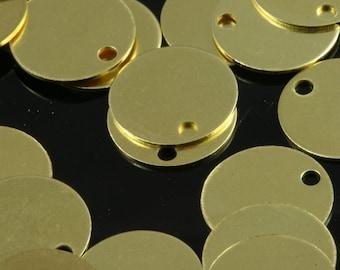 120 pcs 10 mm raw brass circle tag 1 hole raw brass charms ,raw brass findings 71R-40