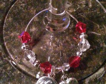 Thank You with Heart Wine Charm