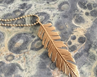 Solid 14K Gold Feather Pendant Beautifully sculpted!
