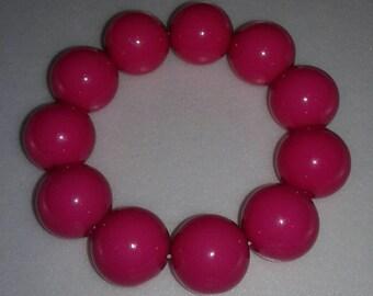 Watermelon pink chunky bubblegum bead bracelet