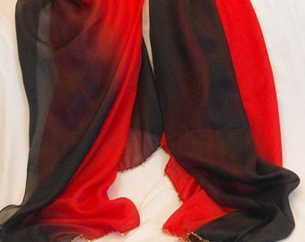 Red and Black graded colours 100% silk chiffon scarf / wrap