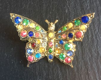 Affordable Vintage Jewellery Butterfly Brooch 1930s Brass Multi Coloured Rhinestones Scarf Lapel Pin Birthday Mothers Day Gift For Her