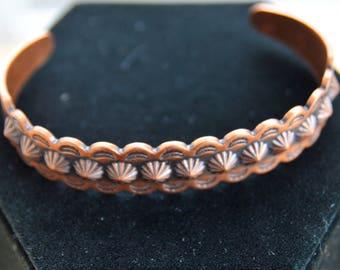 Pretty Vintage Copper Cuff Bracelet, Southwest (A1)