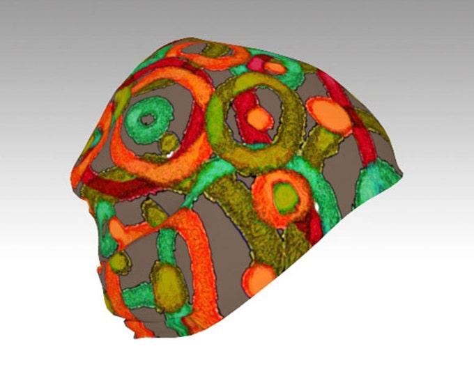 Circles, Green and Orange Slouchy Beanie Cap, Warm Slouchy Cap, Beanies, Adult and Kids Beanies, Winter Hats, Winter Caps