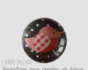 2 cabochons craft birds glass 20 mm - A372