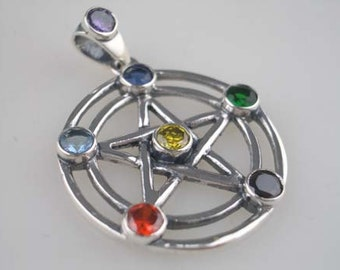 Sterling Silver Chakra Pentagram Pendant Spiritual Jewellery
