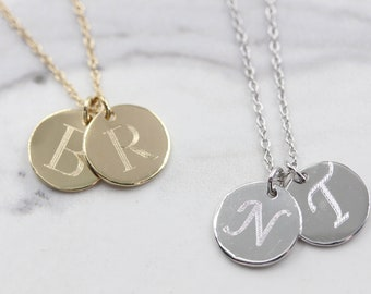 14k solid gold double initial necklace personalized discs necklace