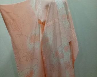 Silk Furisode Kimono , Vintage 1940's Furisode , Square Furisode