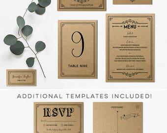 Printable DIY Rustic Wedding Invitation Set