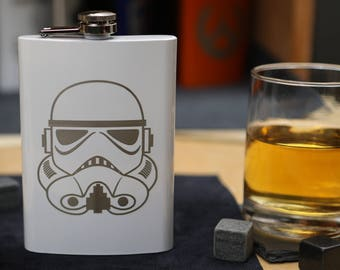 Storm Trooper - White Stainless Steel Hip Flask