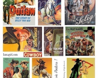 VINTAGE COWBOYS western posters digital collage sheet, retro rodeo Wild West art theater movie posters 1940s 1950s cowboys ephemera DOWNLOAD