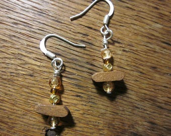 Clearance - Beaded Earrings with Wood Accents
