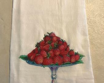 Strawberry flour sack towel