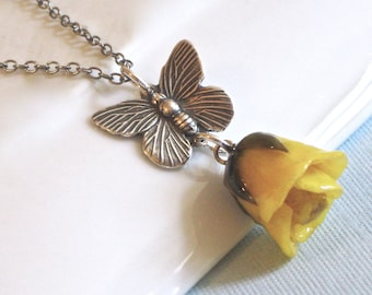 Yellow Real Rosebud Necklace, Butterfly Necklace, Real Flower Jewelry, Rose Necklace, Nature Jewelry