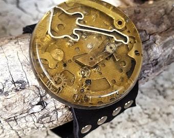 Guitar Steampunk Leather Wristband Cuff -Bracelet-Steampunk Bracelets-Steampunk cuff-steampunk gift