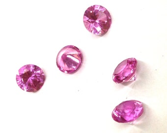 5 Pieces of 8mm Synthetic Pink Sapphire Chaton Round Pointed Back Semi Precious Stones