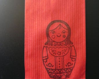 30 pouches dolls Russian Red kraft 7 x 12 cm and masking tape with polka dots