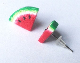 Handmade Stud Earrings. Watermelon Studs. Mother's day gift USA. Birthday Present Her Mum Wife Girlfriend Friend. Cute Earrings