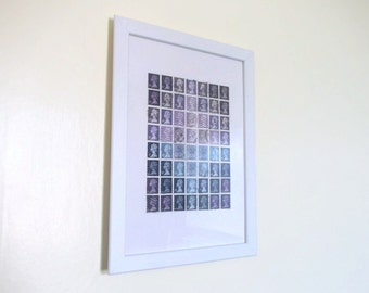 Framed Postage Stamp Wall Art - Calming Lavender Office Art Decor - Upcycled Original British Stamp Art, 8 x 11, Geometric mosaic collage