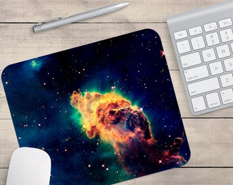 Yellow Galaxy Mouse Pad, Outer Space Mouse Pad, Galaxy Mouse Pad (0064)