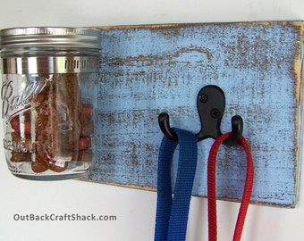 Dog Leash Holder with Treat Jar; Leash Hook; Baby Blue Decor; Dog Accessories; Rustic Decor; Pet Accessories; Multiple colors available!