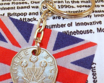 1943 3d 12 Sided Threepence English Coin Keyring Key Chain Fob King George VI