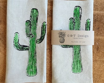 Screen Printed Cactus onto 100% Natural Linen Tea towel, Hostess Gift, Wedding Gift