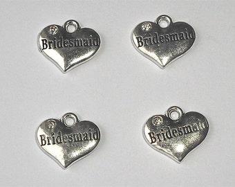 4 x Bridesmaid Clear Rhinestone Wedding Silver Heart Beads/Charms/Pendants 16mm W1