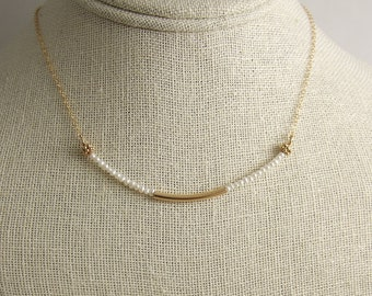 Necklace with Pearls and a 14k Gold-Filled, Curved Tube on a 14k Gold-Filled Chain GCDN-37