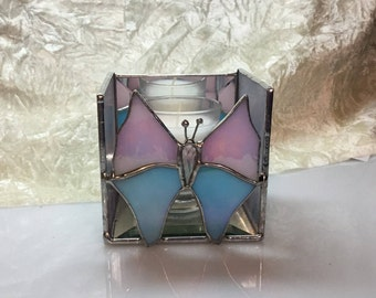 SALE Butterfly Candle Shelter in Stained Glass