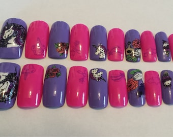 Purple Unicorn Full cover artificial nail set-Long length, square tips