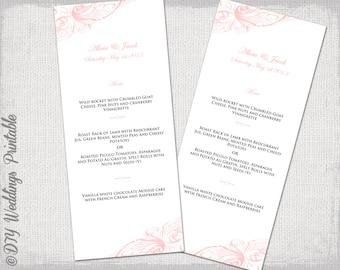 """Menu template pink wedding menu templates """"Vintage scroll"""" pale pink digital printable menu YOU EDIT word template instant download"""
