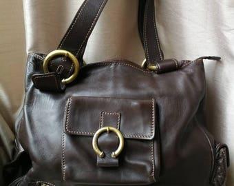 Brown Tote bag, vintage tote bag, Brown leather bag, Brown tote with zipper, everyday bag, Brown bag, large bag