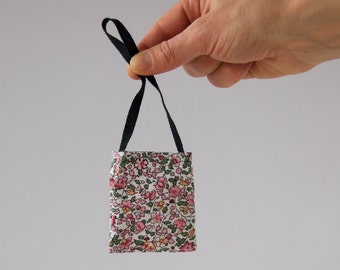 Rag doll floral tote bag, mini accessories for soft handmade cloth rag doll, bag for rag doll